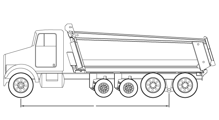 Bridge law example: quad-axle dump truck with 250 inch wheelbase and 62,500 lbs GVW