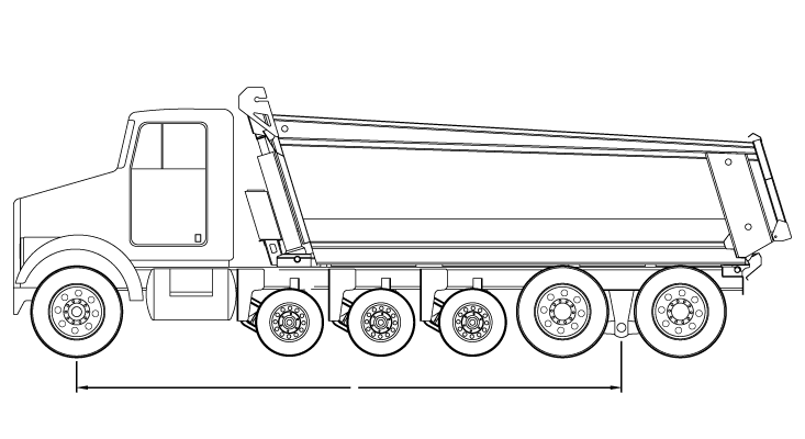 Bridge law example: quint dump truck with 252 inch wheelbase and 73,000 lbs GVW
