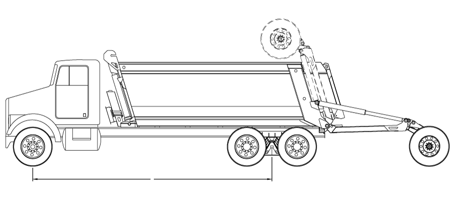 Bridge law example: 4-axle super dump truck with 255 inch wheelbase and 66,000 lbs GVW