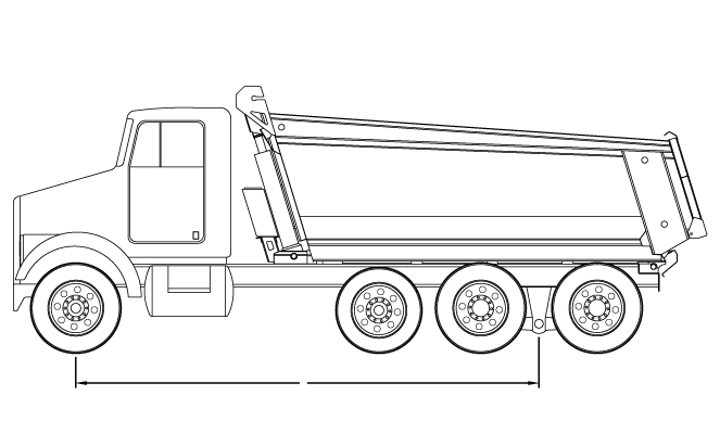Bridge law example: tri-axle dump truck with 200 inch wheelbase and 63,500 lbs GVW