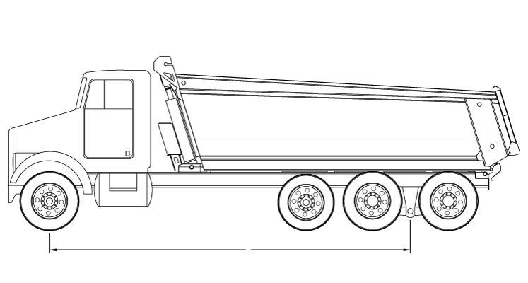 Bridge law example: tri-axle dump truck with 255 inch wheelbase and 58,000 lbs GVW