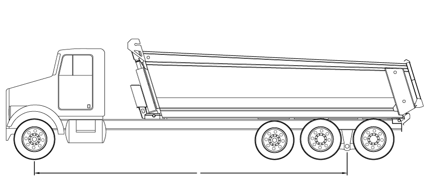 Bridge law example: tri-axle dump truck with 315 inch wheelbase and 61,500 lbs GVW