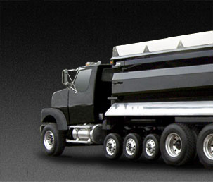 7-axle Super Dump Truck black Strong Arm lowered rear view