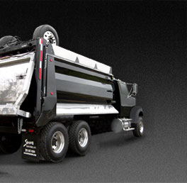 7-axle Super Dump Truck black Strong Arm raised rear view